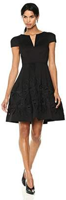 Halston Women's Short Sleeve Notch Neck Dress with Embellished Skirt