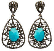 Turquoise Moonstone & Diamond Drop Earrings