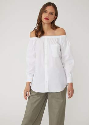 Emporio Armani Poplin Shirt With Exposed Shoulders