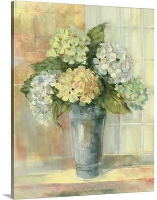 Great Big Canvas 'Yellow Hydrangea' Carol Rowan Painting Print Format: White Framed,