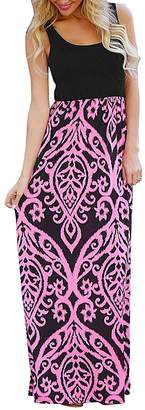 CZ Women Casul Round Neck Sleeveless Floral Printed Slim Fit Long Maxi Dress(, L)