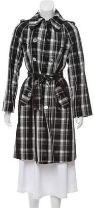 Dolce & Gabbana Plaid Print Knee-Length Trench Coat