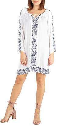 24/7 Comfort Apparel Cotton Embroidered Peasent Dress
