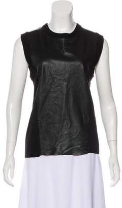 Robert Rodriguez Leather-Accented Wool Tank Top