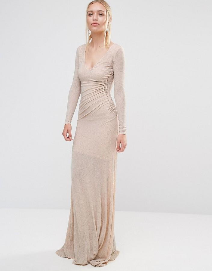 City Goddess Backless Long Sleeved Maxi Dress In Lurex Fabric