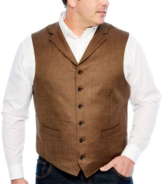STAFFORD Stafford Merino Stretch Brown Donegal Classic Fit Suit Vest - Big and Tall
