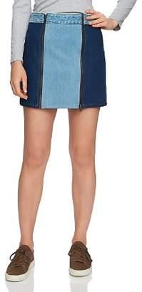 1 STATE 1.STATE Two-Tone Denim Mini Skirt in Blue Slate Wash