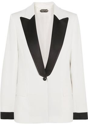 TOM FORD - Satin-trimmed Cady Blazer - White $2,750 thestylecure.com