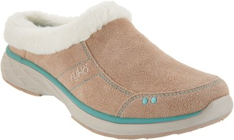 Ryka Suede and Faux Fur Slip-On Clogs - Luxury