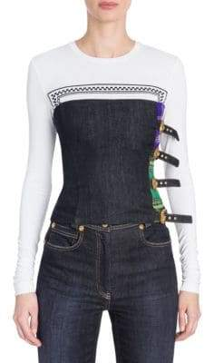 Versace Denim& Tartan Buckle Bustier