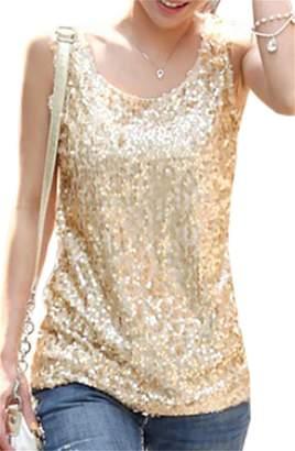 f64276dc00e29b YUELANDE-Women Sequin Crop Top Sparkly Shirt Glitter Slim Vest Tank Top US  XL