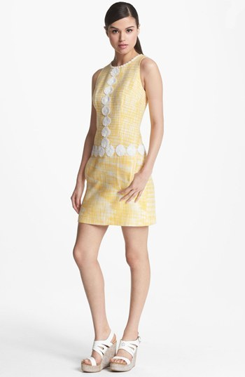 Laundry by Shelli Segal Daisy Trim Bouclé Dress
