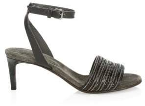 Brunello Cucinelli Leather Kitten Heel Sandals