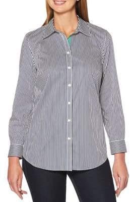 Rafaella Striped Cotton Button-Down Shirt