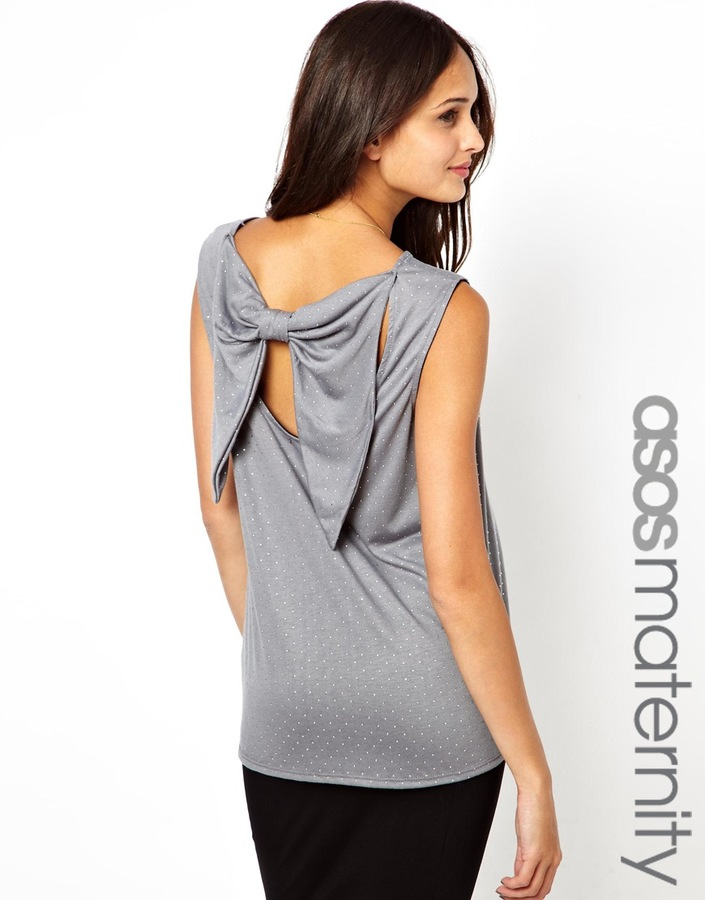 Asos Exclusive Top With Studs With Drape Bow Back