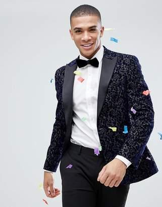 Moss Bros Skinny Blazer In Flocked Velvet