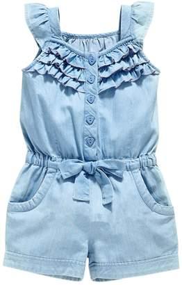 Lee Evelin Baby Girls Rompers Lace Denim Vest Shorts Boat Neck Summer Jumpsuits
