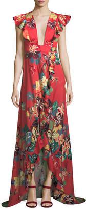 Alexis Jana Floral-Print Cotton High-Low Maxi Wrap Dress