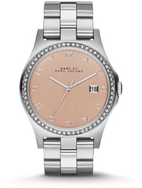 Marc by Marc Jacobs Henry Glitz Stainless Steel Bracelet Watch $200 thestylecure.com