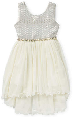 American Princess (Toddler Girls) Brocade Asymmetrical Tulle A-Line Dress