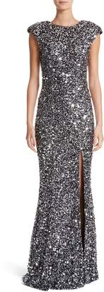 Rachel Gilbert Hand Embellished Sequin Gown