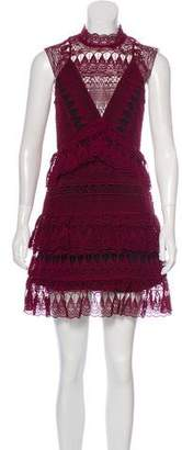 Self-Portrait Lace Tiered Mini Dress