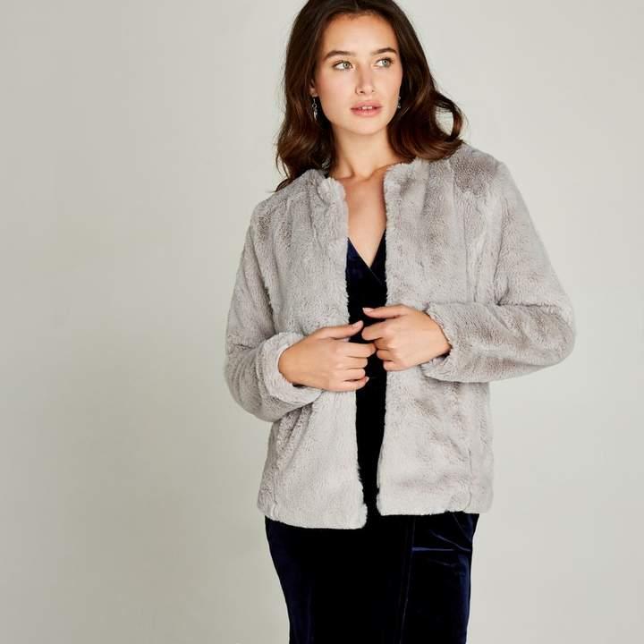 Grey Faux Fur Short Crop Jacket