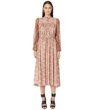 ADAM by Adam Lippes Printed Chiffon Long Sleeve Dress w/ Elastic Waist