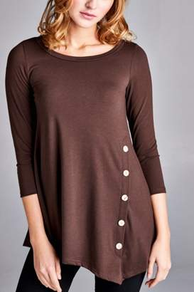 Emerald Button Embellished Tunic