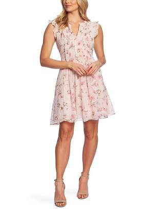 Cynthia Steffe CeCe by Duchess Floral Print Flutter Sleeve Dress