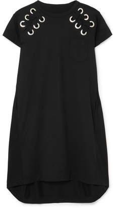 Sacai Lace-up Cotton-jersey Mini Dress - Black