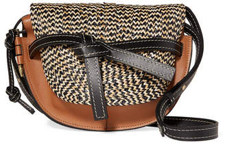 Loewe Gate Small Woven Raffia And Leather Shoulder Bag - Brown