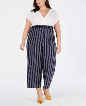 384a3233e59a Solid   Striped Monteau Trendy Plus Size Jumpsuit