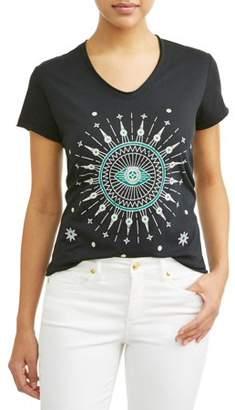 Sofia Jeans by Sofia Vergara Evil Eye Short Sleeve V-Neck Graphic T-Shirt Women's