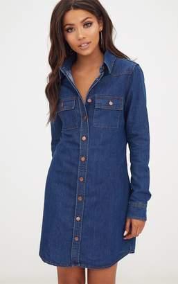 3b62b512f6a PrettyLittleThing Dark Wash Button Up Denim Shirt Dress