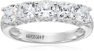 Swarovski Amazon Collection Sterling Silver Zirconia 2 cttw Cushion 5 Stone Ring, Size 5