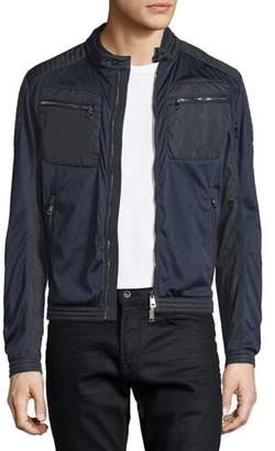 Moncler Mesh Zip-Up Moto Bomber Jacket, Navy $775 thestylecure.com