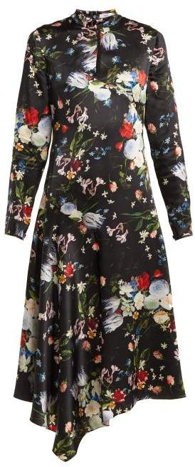 Sinclair Edith Print High Neck Silk Satin Dress - Womens - Black Multi