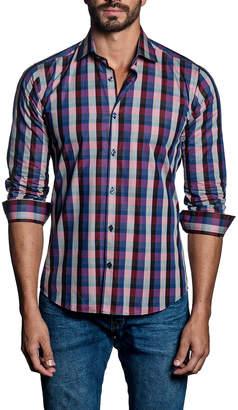 Jared Lang Large-Check Sport Shirt, Pink/Blue