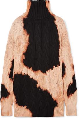 Balenciaga Bleached Cable-knit Cotton Turtleneck Sweater - Black