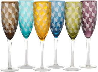 Pols Potten Blocks Multicolour Champagne Glasses - Set of 6