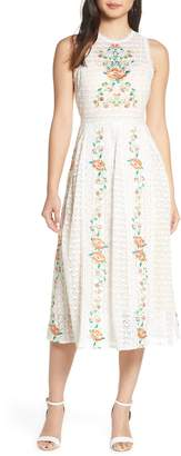 Foxiedox Lori Embroidered Lace Midi Dress