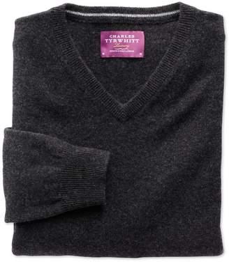 Charles Tyrwhitt Charcoal Cashmere V-Neck Sweater Size XL
