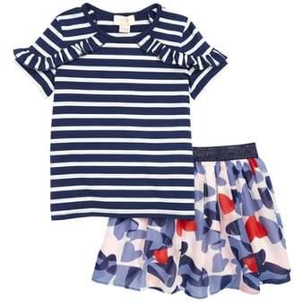 Kate Spade Stripe Top & Confetti Hearts Skirt Set