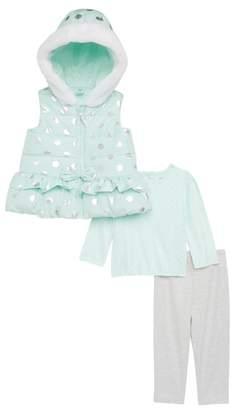 Little Me Foil Dot Hooded Quilted Vest, Tee & Leggings Set