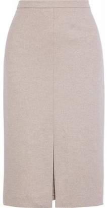 Max Mara Nanna Leather-Trimmed Wool-Jersey Pencil Skirt