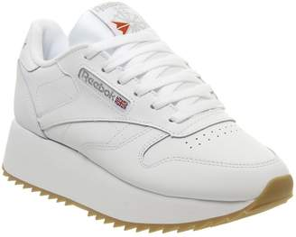 4bf508e8d5f Reebok Classic Leather Double Trainers White Gum Silver Metallic