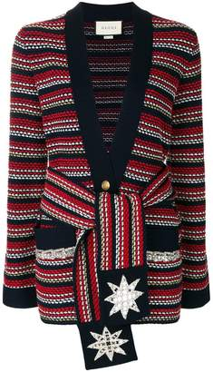 Gucci stripe bouclé belted jacket