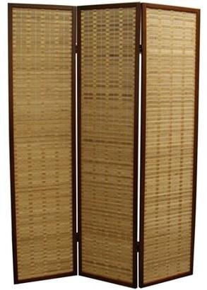 """Ore International 70.25"""" Bamboo 3-Panel Room Divider, Walnut"""