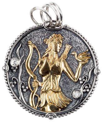 Konstantino Sagittarius Carved Zodiac Pendant with Diamond